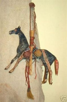 Replica Eaglebone war whistle with rawhide horse cutout and medicine pouches- Made by Bob Brewer