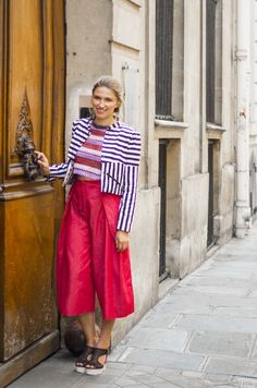 Striped jacket and wide pants look  | Site DIY et couture