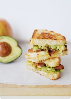 Lunch time! Avocado & Bacon Grilled Cheese Sandwiches are yummy!