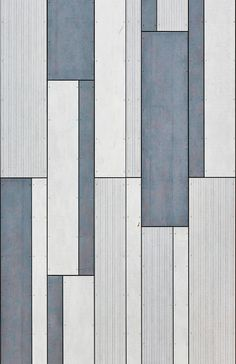 Graphic shapes with shades of blue and grey, from EQUITONE facade materials, combined in vivid facade pattern Geometric Patterns, Floor Patterns, Wall Patterns, Textures Patterns, Facade Design, Floor Design, Tile Design, Facade Pattern, Paving Pattern