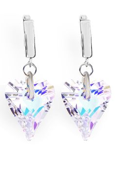 Mia Tomazzi - Sterling Silver Faceted Heart Earrings in Aurora Borealis