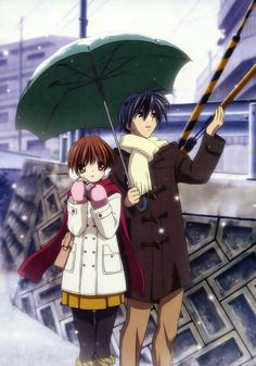 Tomoya, Nagisa, snowing, winter, couple, umbrella; Clannad