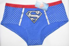 e15d9d55ca Superman knickers blue with silver logo panties women ladies sizes uk 6-20