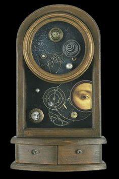 Inter-dimensional Peepholes - Artist Kass Copeland   Mixed Media Assemblage - Clock box, spring, vintage photos, glass marbles,