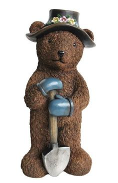 Hand Painted Resin Bear In Overalls Garden Statue | Garden Goodies |  Pinterest | Garden Statues, Overalls And Resin