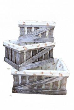 Кованая мебель :: Мебель `Лофт`, `Кантри`, `Прованс` :: Деревянные ящики органайзеры. :: Деревянный ящик органайзер с чехлом, прямоугольник, набор из 3 шт. 004/DYK4/1392
