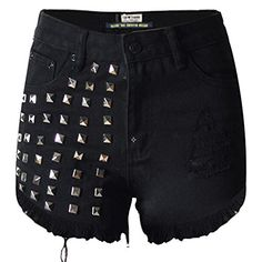 Woman's Summer High Waist Jeans Shorts Woman Denim Shorts Vintage rivet tassel Sexy Punk Shorts Jeans, Black L Girls Denim Shorts, Ripped Jean Shorts, Denim Cutoff Shorts, Black Denim Shorts, Waisted Denim, Women's Shorts, Loose Jeans, Loose Shorts, Mini Shorts