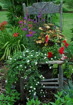 Junky old chair in the garden with flowers -love this!