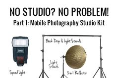 Creative set ups for taking portraits without a dedicated studio space, using natural and artificial light. In part 1, I simply show you what I have in my mobile photography kit and why I chose it.