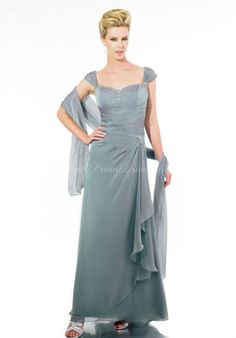 Cap Sleeves A-line Ankle Length Wrap Chiffon Mother Of The Bride Dress #mother #bride #dress