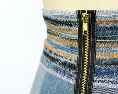 Denim Swing Skirt with Wide Waistband and Exposed Zipper, Upcycled, Size 8
