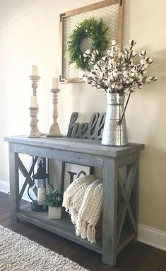 20 Beautiful Entry Table Decor Ideas to give some inspiration on updating your house or adding fresh and new furniture and decoration Diy Home Decor Rustic, Easy Home Decor, Entryway Decor, Country Decor, Entryway Console, Decor Diy, Console Tables, My Living Room, Living Room Decor