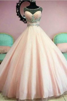 Modest Quinceanera Dress,Beaded Ball Gown,Pink Prom Dress,Fashion Prom Dress,Sexy Party Dress, New Style Evening Dress