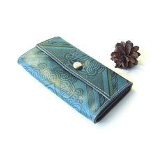 Leather wallet Vintage unused blue wallet Soviet by MerilinsRetro, $28.00