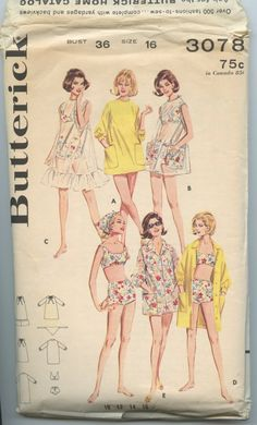 1960s Butterick 3078 Misses Two Piece Bathing Suit Bra Top Boy Shorts Cover Up Head Scarf Sportswear Wardrobe Vintage Sewing Pattern Bust 36