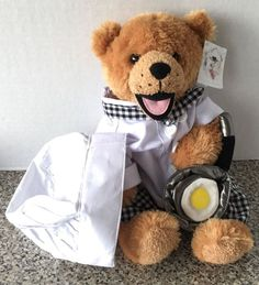 "Chef Plush Bear Chef Hat Apron Egg Fry Pan Stuffed Animal House 14"" Long KA-12…"