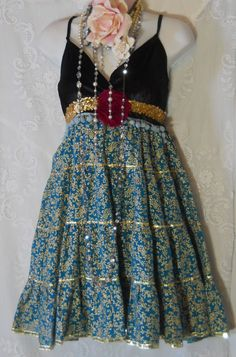Blue tassel dress black velvet gold sequins   by vintageopulence