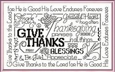 Lets Be Thankful 'Words' cross stitch pattern designed by Ursula Michael,