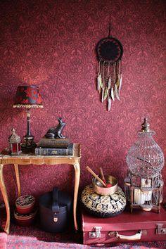 "Interior view 3 of the wallpaper collection ""boho love"", a. Interior Wallpaper, Damask Wallpaper, Wallpaper Online, Love Wallpaper, Beautiful Wallpaper, Ornament Tapete, Boho Chic, Boho Style, Estilo Hippy"