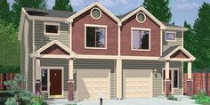 Contact Bruinier & Associates today for Duplex house plans and designs to build your clients their dream homes - one story, ranch style, 2 story duplex floor plans and more! House Plans 2 Story, Ranch House Plans, Craftsman House Plans, New House Plans, Small House Plans, Story House, Garage Plans With Loft, Basement House Plans, Duplex Design