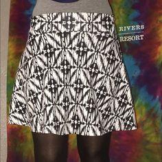 """Sz S Tilly's skater skirt Black and white. Waist 22""""; hem 17"""" from waist Tilly's Skirts Circle & Skater"""