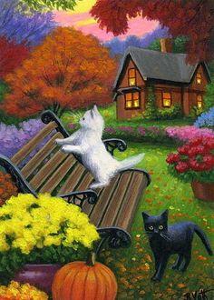 Kittens cats autumn fall bench garden house landscape original aceo painting art #Realism