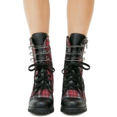 Current Mood Judy Plaid Combat Boots ($70) ❤ liked on Polyvore featuring shoes, boots, punk rock shoes, punk boots, combat booties, plaid shoes and punk shoes