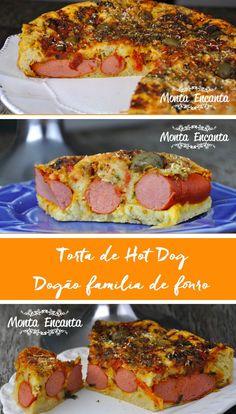 Torta de Hot Dog, com creme de leite na massa e molho de tomate natural, com orégano e salsichas inteiras com queijo de sua preferência.Dogão de forno! Big Sandwich, Salty Snacks, Fabulous Foods, Bread Baking, Baked Goods, Hot Dogs, Carne, French Toast, Food Porn