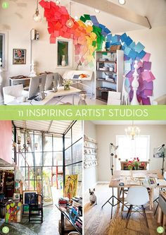 It's art month here at Curbly and we'll be sharing more awesome DIY art projects than you can handle. While we're at it, though, I thought it might be fun to take a peek into the work spaces of a few professional artists. So, put on your Eye Candy aprons and check out these 11 inspiring studio spaces!      1. Colorful home studio in Raleigh, NC. 2. Greenhouse-style painter's studio. 3. Light-filled home studio. 4. Artist studio in the woods. 5. Contemporary home studio in San Francisco. 6…