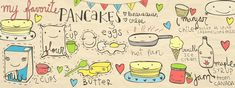 Pancakes at by Gloria Melo Super Fluffy Pancakes by Laura Pennington Good Morning my lovelies and Happy Pancake Day ! Pan N Ice, Happy Pancake Day, Pancake Pan, Waffle Cake, Fluffy Pancakes, Canada, So Creative, Food Illustrations, Cute Illustration
