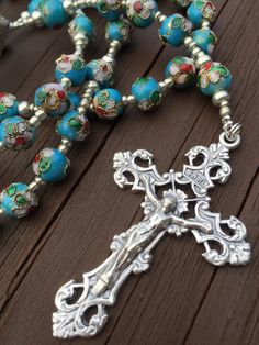 Light Blue Cloisonné Rosary by LibrasGarden on Etsy