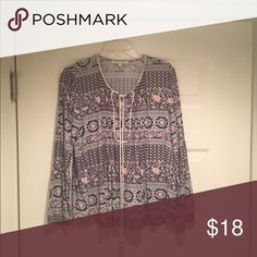 Bohemian long sleeve top size L Mint condition 100% rayon B 23 inches L from the shoulder 26 inches in the front. Arm 24 inches from the shoulder seam. All measurements are approximate and a flat lay. Daniel Rainn Tops Blouses