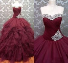 Burgundy Ball Gown Celebrity Pageant Quinceanera Dress Prom Formal Party Evening