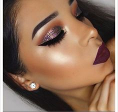 Glittery, purple-ish eye makeup