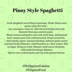 Celebrate love and happiness with a plate of Pinoy style Spaghetti! With the holidays just around the corner, here's a simple gift from us.  xoxo Team Philippinecuisine #PhilippineCuisine  #FilipinoFood