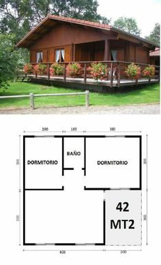 45 Ideas House Country Plans For 2019 Tiny House Cabin, Cabin Homes, Small House Plans, House Floor Plans, Bamboo House Design, Simple House Design, Tiny House Design, 2 Bedroom House Plans, Cabins And Cottages
