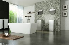 You can still change your bathroom look, even using the littlest amount of money that you have. The only way to solve it, you can use the concrete bathroom flooring Bathroom Concrete Floor, Modern Marble Bathroom, Concrete Shower, Concrete Floors, Bathroom Flooring Options, Best Bathroom Flooring, Bathroom Furniture, Flooring Ideas, Lavabo Design
