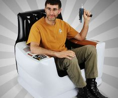 Follow in the steps of Kirk and Piccard the next time you relax on the inflatable Star Trek captain's chair. The chair comfortably seats an adult sized Trekkie...