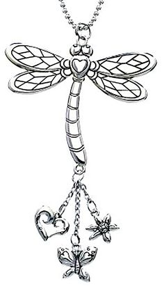 """Amazon.com: Cool & Custom {7"""" Chain Hang} Single Unit of Rear View Mirror Hanging Ornament Decoration Made of Zinc Alloy w/ Garden Wildlife Insects Dragonfly w/ Charms Design [Subaru Silver Colored]: Automotive"""