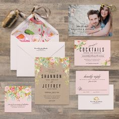 Gorgeous watercolor flower invitation suite - by blushprintables on Etsy https://www.etsy.com/listing/261383966/watercolor-flower-wedding-invitation