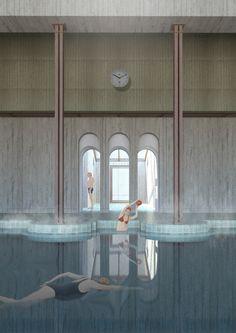 Frigidarium, Lost Mariner swimming pool by Deimante Bazyte  The Royal Academy of Fine Arts, School of Architecture, 2017