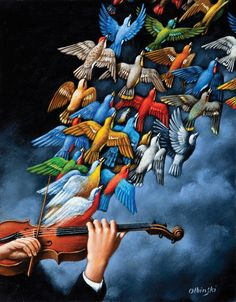 Find this artwork on Artsper: Tales of Love (Violin and birds) by Rafal Olbinski. Art Works, Art Painting, Surrealist, Surreal Art, Painter, Rafal, Painting, Surrealism Painting, Bird Art