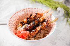 Mandarin Teriyaki Chicken Skewers with Crispy Chicken Fat Rice Teriyaki Chicken Skewers, Teriyaki Sauce, Chicken Skin, Crispy Chicken, Sauce Recipes, Chicken Recipes, Skewer Appetizers, Marinade Sauce, Bamboo Skewers