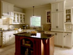 Do I want to open up kitchen and put in an island? CliqStudios Painted Linen kitchen cabinets in the Rockford style