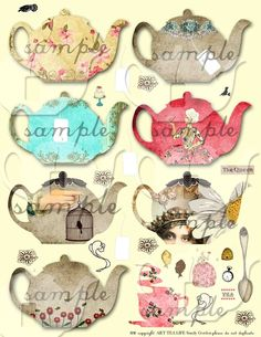 ART TEA LIFE Tea Pot Cards Collage Sheet Digital File