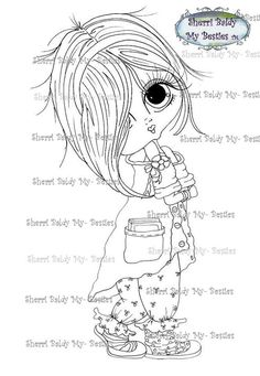 INSTANT DOWNLOAD Digital Digi Stamps Big Eye Big Head Dolls Blakely Ann Pajama Party My Besties By Sherri Baldy