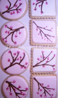 Cherry Blossom Cookies by: The Adorned Cookie SEE… Iced Cookies, Cake Cookies, Sugar Cookies, Blossom Cookies, Flower Cookies, Iced Biscuits, Cookies Et Biscuits, Cherry Blossom Party, Cherry Blossoms