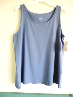 f8a800d923aac NEW J JILL XL 18   20 PUREJILL Easy Tank Stretch Pima Cotton Top Periwinkle