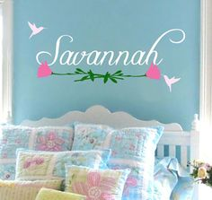 Girl Name Hummingbird Flower Wall Decal Baby by AllOnTheWall, $22.00