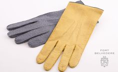 Unlined Gloves in Grey & Chamois Yellow by Fort Belvedere Dandy, Leather Gloves, Leather Men, Suit Fashion, Mens Fashion, Dress Gloves, Men's Gloves, Yellow Gloves, Mens Fall